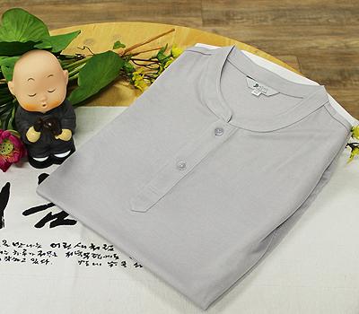 쿨맥스 반팔 기능성 티셔츠-회색(2단추) / 불교용품,법복