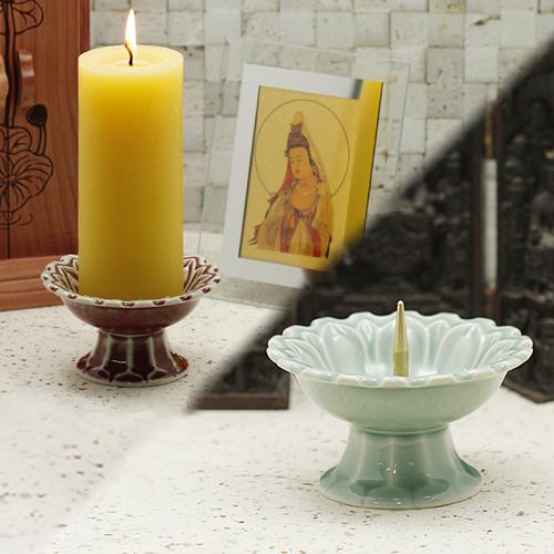 촛대3호(청자/진사 택1)/ 불교용품,제사용품,향,향꽂이,촛대
