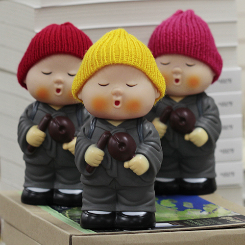 털모자 동자승 저금통(분홍,노랑,빨강 택1) / 불교용품,어린이저금통