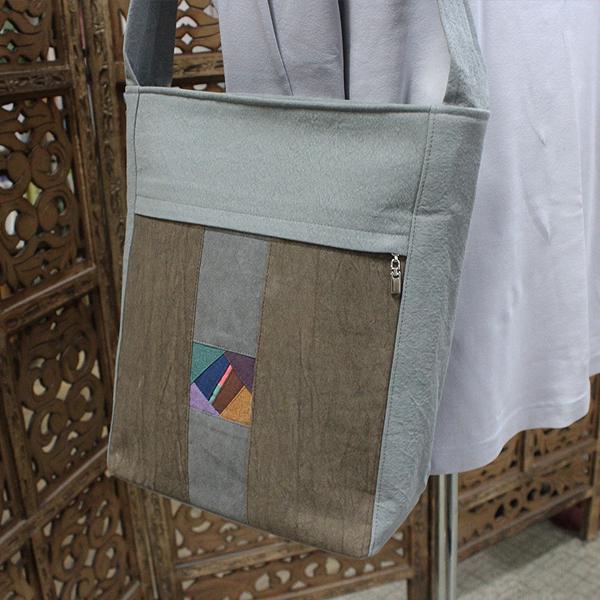 어깨걸이 조각포인트 가방 (밤색) - 숄더백/경전가방/불자가방/신행용품