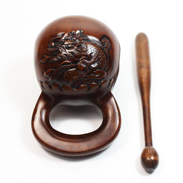 옻칠 목탁 6.5치 (연꽃/용문양) - 수제목탁/영천목탁/불교용품