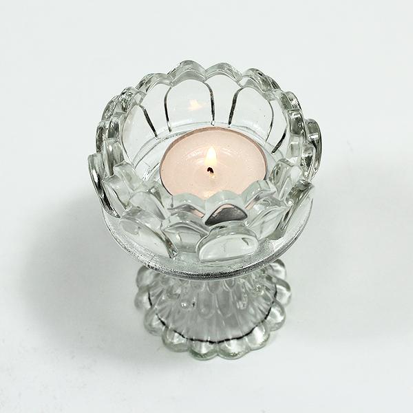 크리스탈 티라이트 연꽃 10cm (티라이트 홀더)